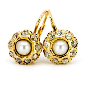 Antique Style Pearl and Old Mine Cut Diamond 18ct Gold Earrings