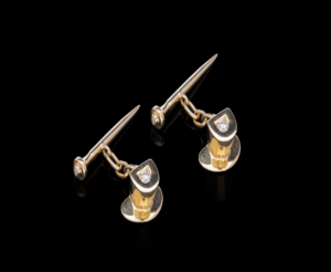 Antique Top Hat & Cane Diamond Set Cufflinks