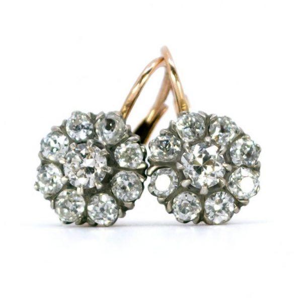 Antique Victorian 2ct Old Mine Cut Diamond Cluster Drop Earrings