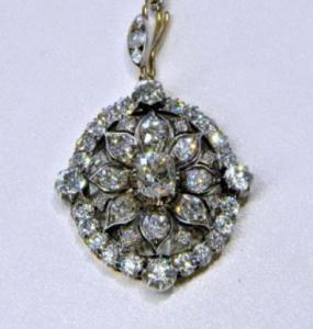 Antique Victorian 7.25ct Cushion Cut Diamond Pendant