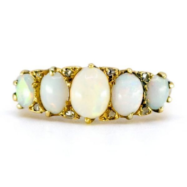 Antique Victorian Opal and Diamond Gold Carved Hoop Ring