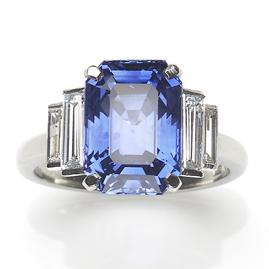Art Deco Style 6.67ct Sapphire and Diamond Platinum Ring