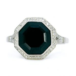 Art Deco Style Black Onyx and Diamond Platinum Ring