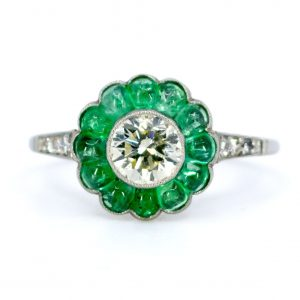 Art Deco Style Old European Cut Diamond and Emerald Platinum Ring