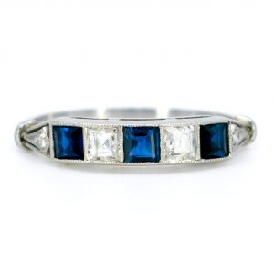 Art Deco Style Sapphire and Diamond Platinum Five Stone Ring