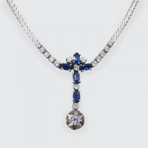 Contemporary 1.25ct Sapphire and Diamond Drop Necklace