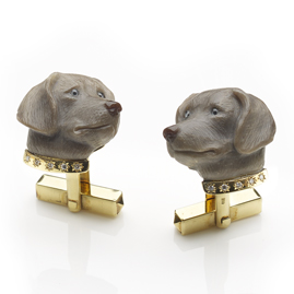 Dog With Diamond Set Gold Collar Cufflinks