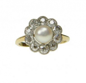 Edwardian Antique Natural Pearl and Diamond Cluster Ring