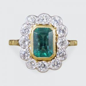 Edwardian Style 0.85ct Emerald and Diamond Cluster Ring