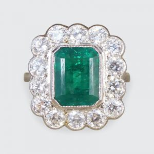 Edwardian Style 1.85ct Emerald and Diamond Cluster Platinum Ring