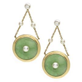 Pearl Set Jade Disc Drop Earrings
