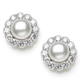 Pearl and Diamond Cluster Stud Earrings