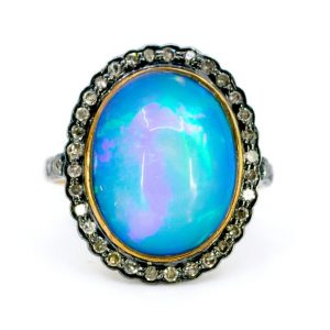 Vintage 5ct Opal and Diamond Cluster Ring
