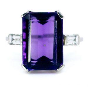 Vintage Amethyst and Baguette Cut Diamond Ring