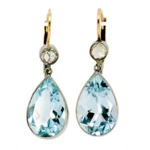 Vintage Aquamarine and Rose Cut Diamond Gold Earrings