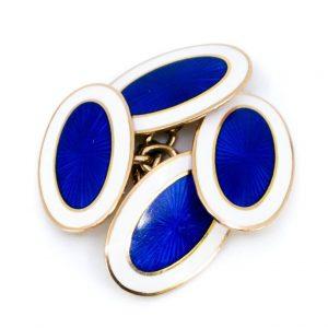 Vintage Blue and White Enamel Gold Cufflinks