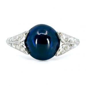 Vintage Cabochon Sapphire and Diamond Platinum Ring