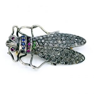 Vintage Diamond and Gem Set Bug Brooch