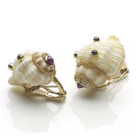 Vintage Gem Set Shell Gold Earrings