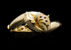 Vintage Panther Diamond and Gold Bangle