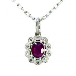 Vintage Ruby and Diamond Platinum Pendant