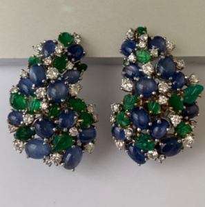 Vintage Signed Kern Sapphire Diamond and Emerald Earrings