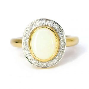 Vintage Style 1.50ct Opal and Diamond Cluster Ring