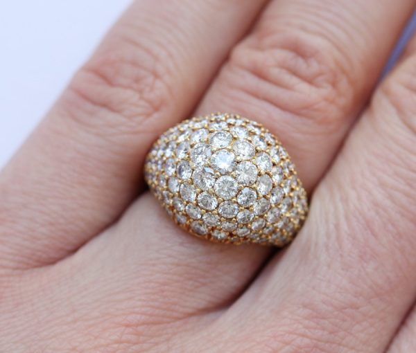 Cartier Vintage Kurt Wayne 3.5ct Diamond Bombe Ring, in 18ct yellow gold; pavé set with brilliant cut diamonds, Signed and numbered, Circa 1980