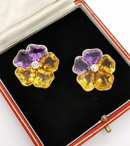 Vintage Citrine Amethyst and Diamond Flower Stud Earrings