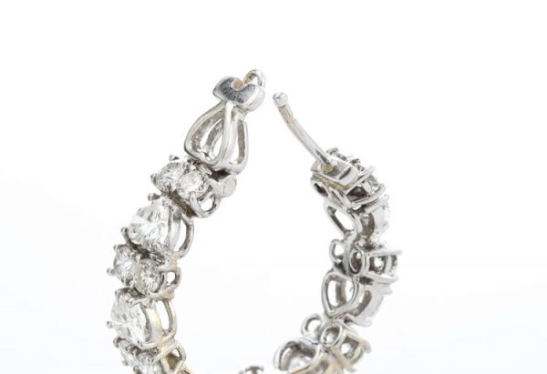 6.70ct Heart Cut Diamond and 18ct White Gold Hoop Earrings, post and clip fittings,Circa 2000's