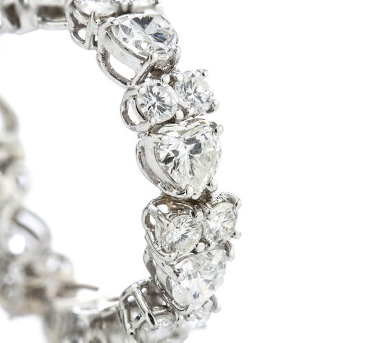 Contemporary 6.70ct Heart Cut Diamond and 18ct White Gold Hoop Earrings,Circa 2000's