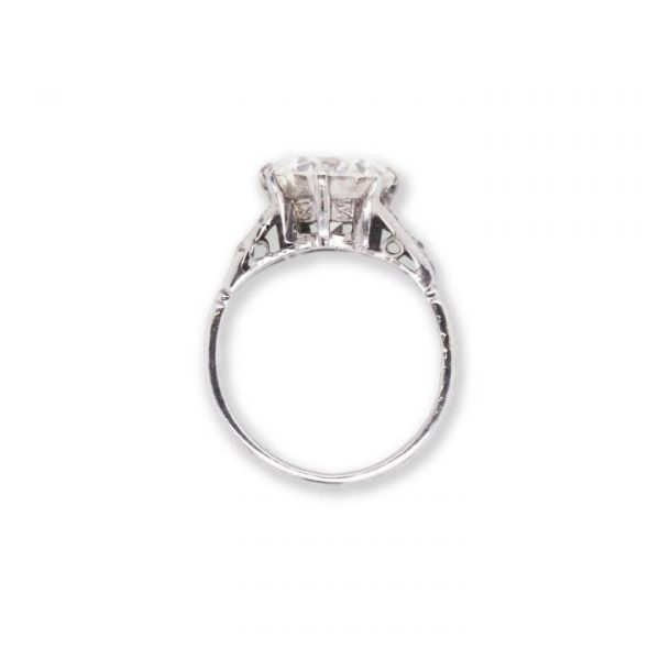Vintage 3.23ct Diamond Single Stone Engagement Ring, 3.23 carats, VS clarity, delicate and ornate shoulder design each set with four round-cut diamonds.