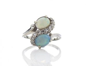 Vintage 1.50ct Opal and Diamond Crossover Ring in 14ct White Gold