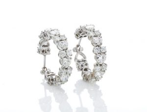 6.70ct Heart Cut Diamond and 18ct White Gold Hoop Earrings
