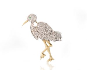 Vintage 1.24ct Diamond and 18ct Yellow Gold Stork Bird Brooch