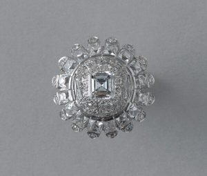 Vintage 10ct Diamond and Platinum Domed Cluster Bombe Cocktail Ring