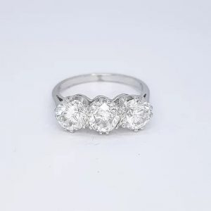 3.06ct Diamond Three Stone Ring in 18ct White Gold