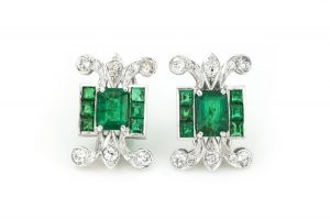 3.80ct Colombian Emerald, Diamond and Platinum Earrings, Certified