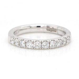 0.53ct Diamond and Platinum Half Eternity Band Ring