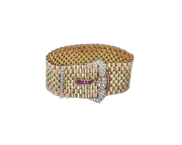 Vintage Tiffany and Co 18ct Gold Belt Buckle Style Bracelet set with 1.20cts diamonds and 0.56cts rubies. Circa 1940s.