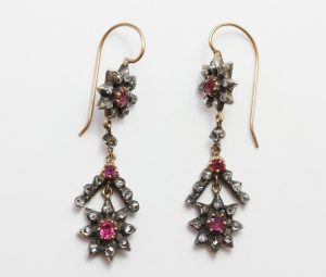 Antique Georgian Ruby and Rose Cut Diamond Drop Earrings