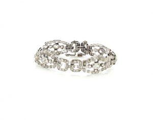 Art Deco Diamond and Platinum Bracelet, 5.89 Carats