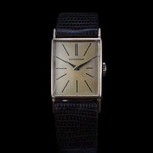 Boucheron Vintage 18ct Yellow Gold Manual 20mm Watch with Omega Movement ref 9837468, golden face, leather strap, Circa 1960s