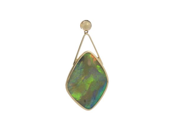 Vintage 25.00ct Opal Pendant in 18ct Yellow Gold; striking 25 carat opal of cushioned diamond shaped form, in 18ct yellow gold, Circa 1950-1970s