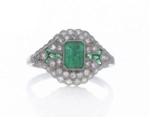 Art Deco Style Emerald, Diamond and Platinum Cluster Dress Ring