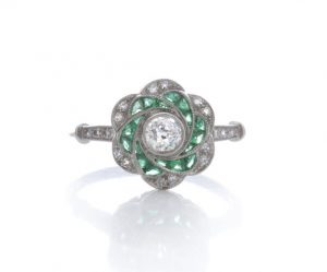 Vintage Emerald and Diamond Flower Swirl Cluster Ring, 18ct White Gold