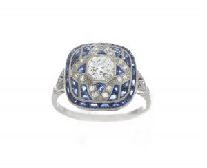Art Deco Style 0.80ct Sapphire, Diamond and Platinum Cluster Ring