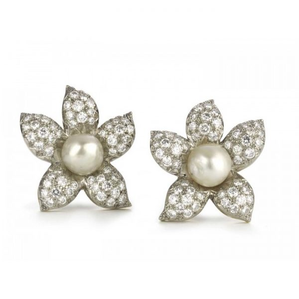 Vintage Natural Pearl and Diamond Flower Earrings; central 10mm natural pearls surrounded by 11.00 carats pavé set diamond petals. Circa 1950