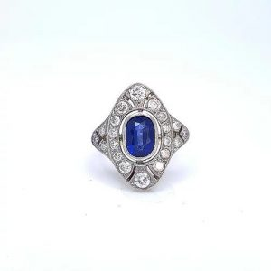 Art Deco Style 2.00ct Sapphire and Diamond Plaque Ring