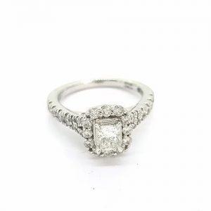 Princess Cut Diamond and Platinum Cluster Ring, 0.85 carats